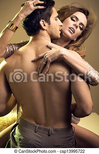 ritratto, coppia, piccante, amanti - csp13995722