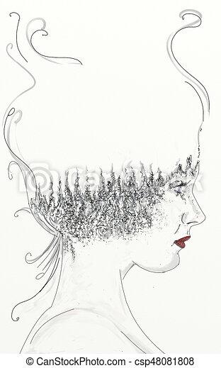 ritratto di donna di profilo con alberi nel viso csp48081808