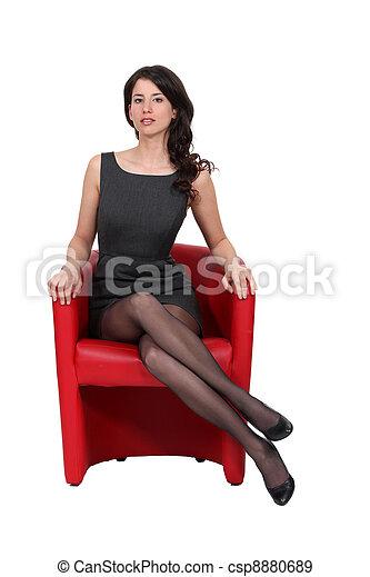 ritratto, donna, sofisticato - csp8880689