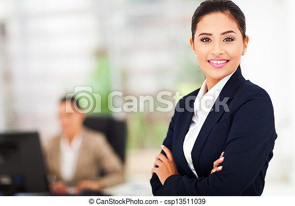 ritratto, donna sorridente, affari - csp13511039