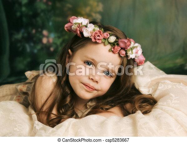 ritratto, elegante, ragazza, giovane, splendido - csp5283667