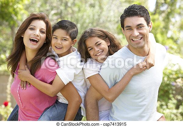 ritratto, parco, famiglia, felice - csp7413915