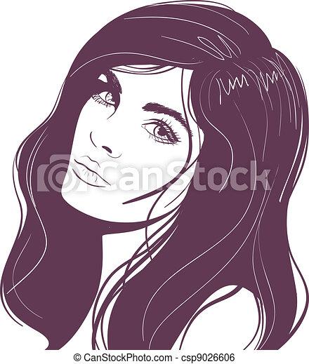 ritratto, ragazza, bellezza, faccia - csp9026606