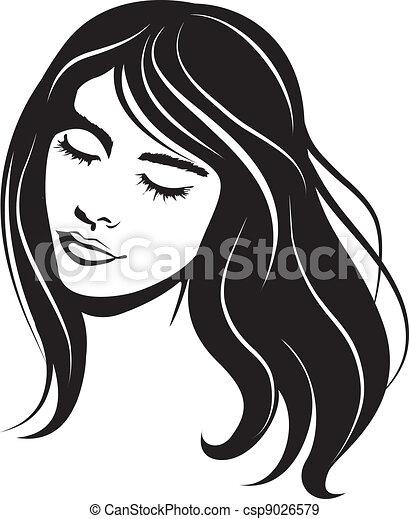 ritratto, ragazza, vettore, bellezza, faccia - csp9026579