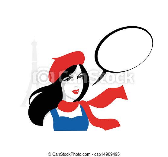 ritratto, ragazza, vettore, francese - csp14909495