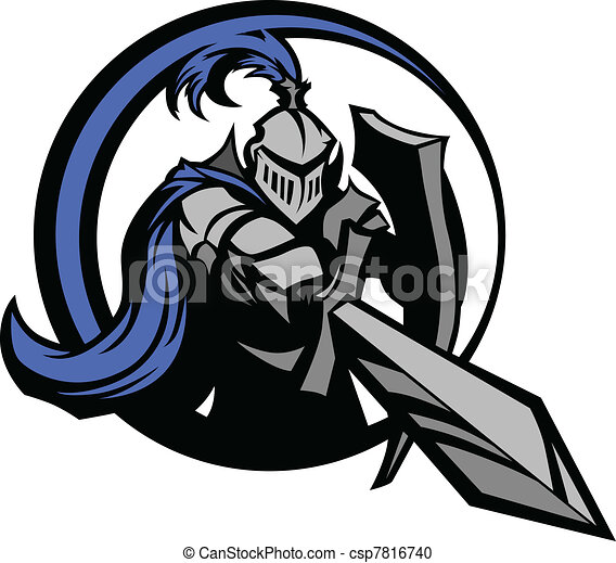 Mittelalterlicher Ritter mit Schwert und Schie - csp7816740