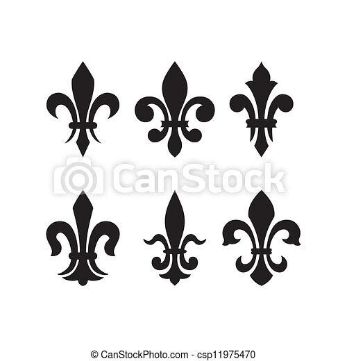 ritterwappen, de, symbol, fleur, lis - csp11975470
