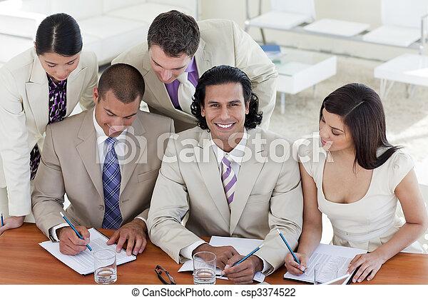 riunione, squadra affari, multi-etnico - csp3374522