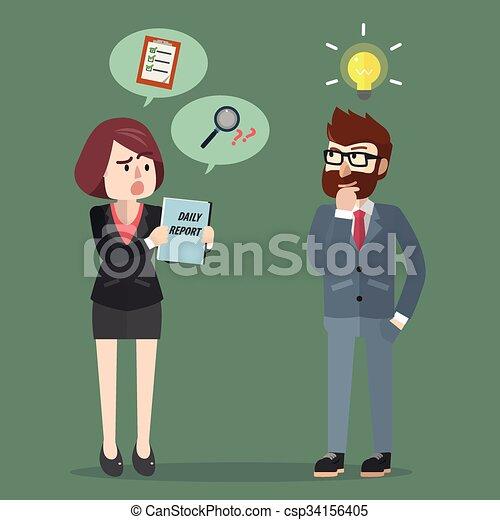 riunione uomo, idea, affari, prendere - csp34156405