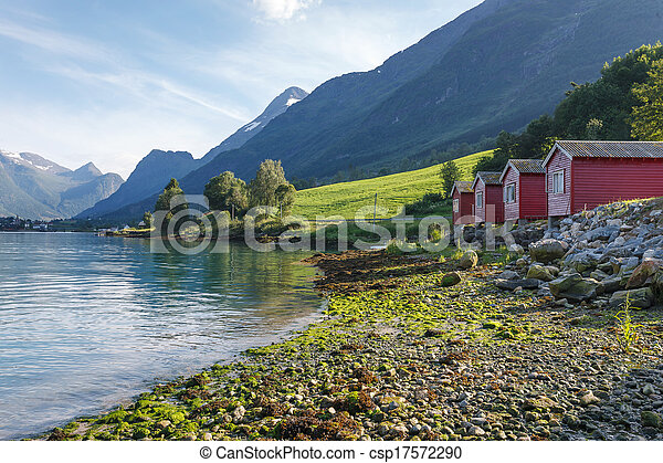 rivage, norvège, nordfjord, camping - csp17572290