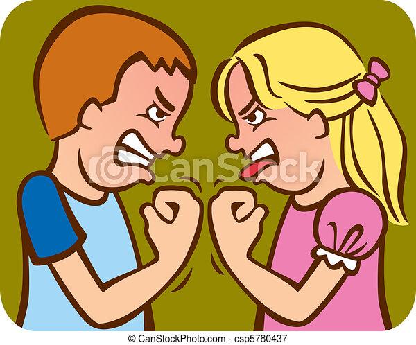 Dessin Frere Et Soeur rivalité frères soeurs. soeur, arguing/fighting, frère, illustration