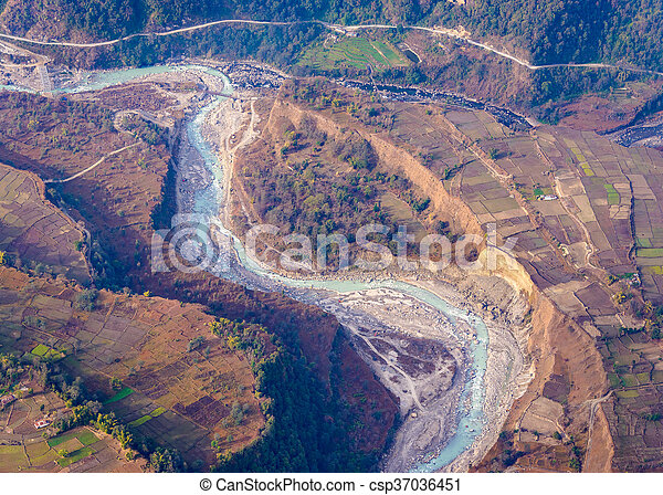 River aerial view in Nepal - csp37036451