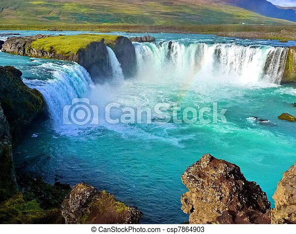River and Wide waterfall in Iceland - csp7864903
