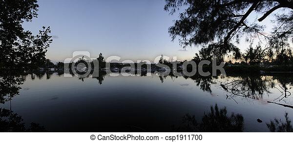 River at dusk - csp1911700