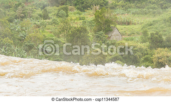 River ending in a waterfall - csp11344587
