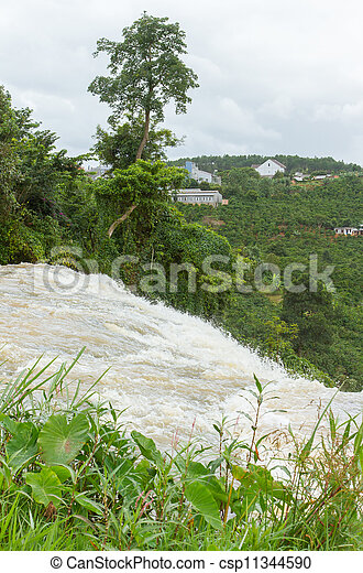 River ending in a waterfall - csp11344590