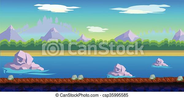 river game background for 2d game application vector design