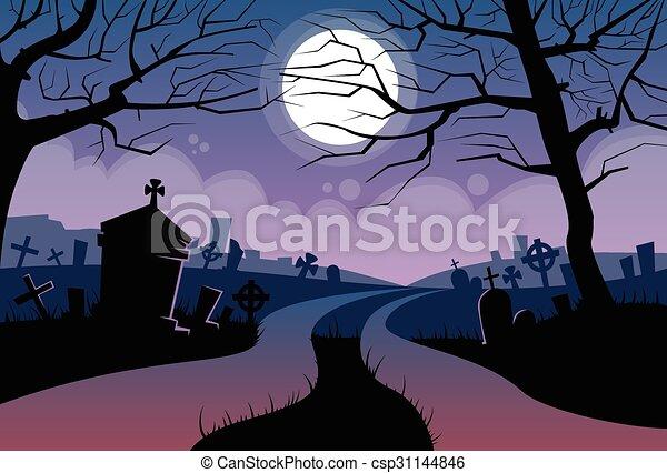 River Halloween Moon Cemetery Banner Graveyard Card - csp31144846