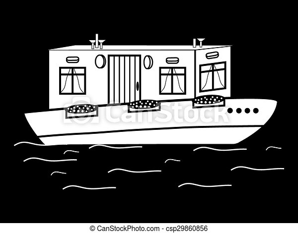 River House White Black Water Transport Icon Symbol