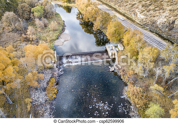 river in mountain canyon aerial view - csp62599906