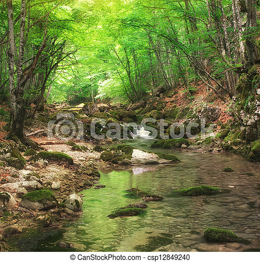 River in mountain - csp12849240