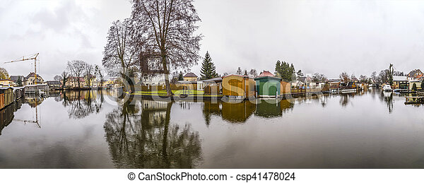 river landscape at Havel at a small canal in Brandenburg - csp41478024