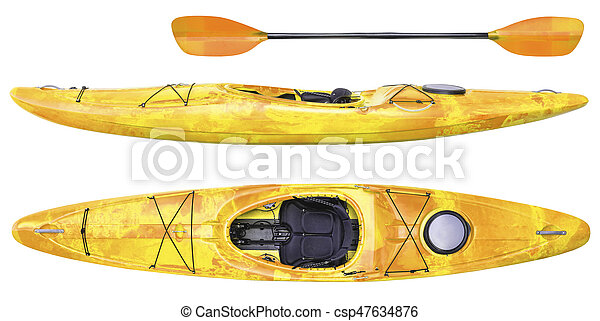 River Running Kayak And Paddle Isolated