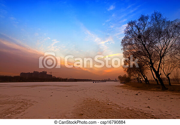 river scenery in winter - csp16790884