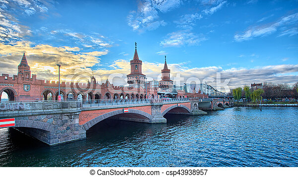 River Spree in Berlin with the Oberbaumbrücke - csp43938957