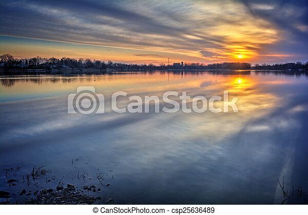 River Sunrise - csp25636489