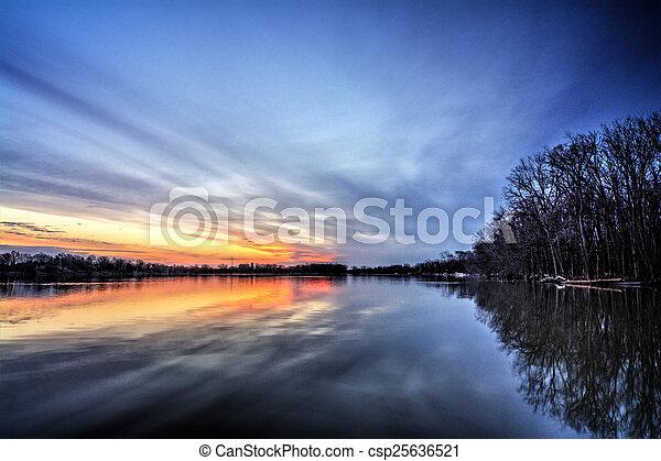 River Sunrise - csp25636521