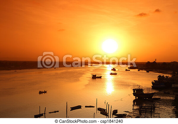 river sunrise - csp1841240