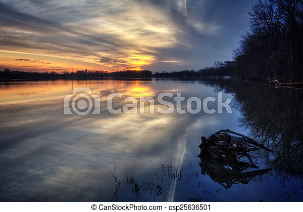River Sunrise - csp25636501