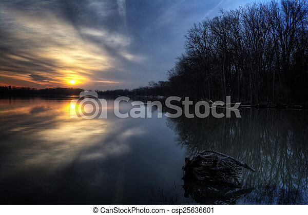 River Sunrise - csp25636601