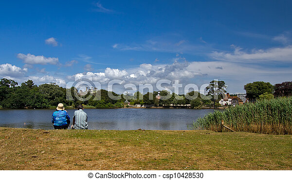 Riverbank on a sunny day - csp10428530