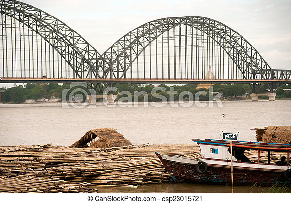rivière, activités, ayeyarwady, port - csp23015721