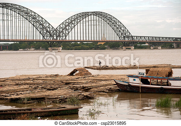 rivière, activités, ayeyarwady, port - csp23015895
