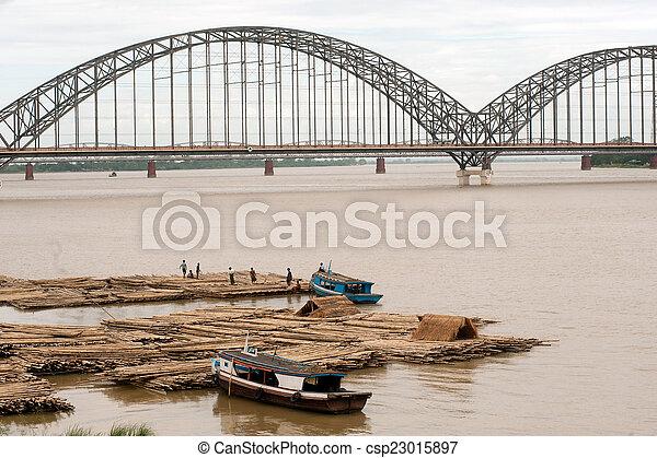 rivière, activités, ayeyarwady, port - csp23015897