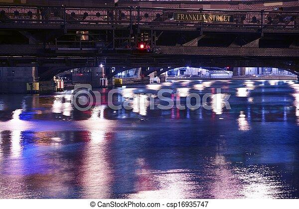 rivière, chicago, nuit - csp16935747