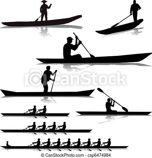 rivière, divers, rameurs - csp6474984