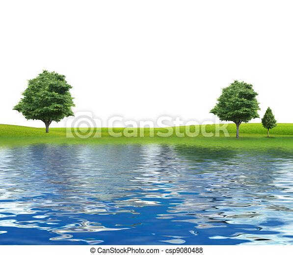 rivière, isolé, arbres - csp9080488