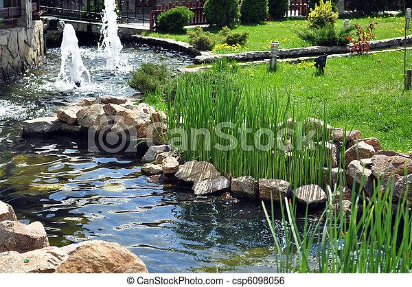 rivi re jardin artificiel rochers vert particulier herbe. Black Bedroom Furniture Sets. Home Design Ideas