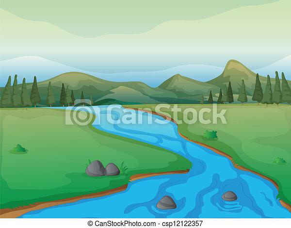 rivière, montagnes, forêt - csp12122357