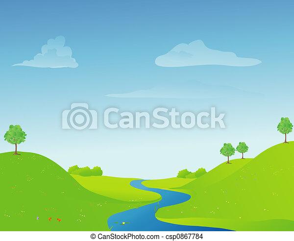 rivière, printemps - csp0867784