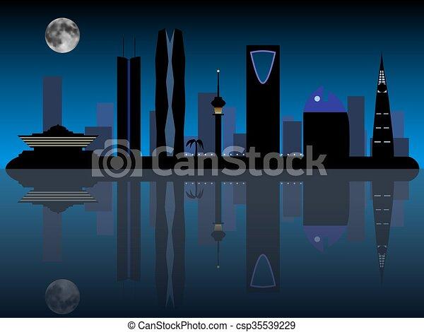 Riyadh Saudi Arabia skyline silhouette - csp35539229