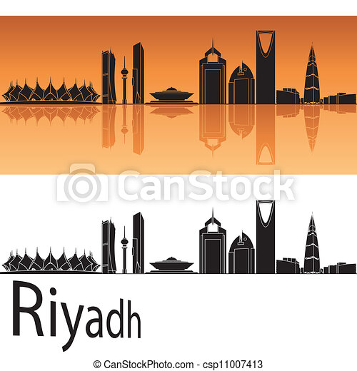 Riyadh skyline in orange background - csp11007413