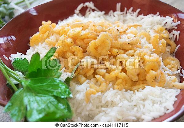 riz, frit, basmati, crevettes - csp41117115