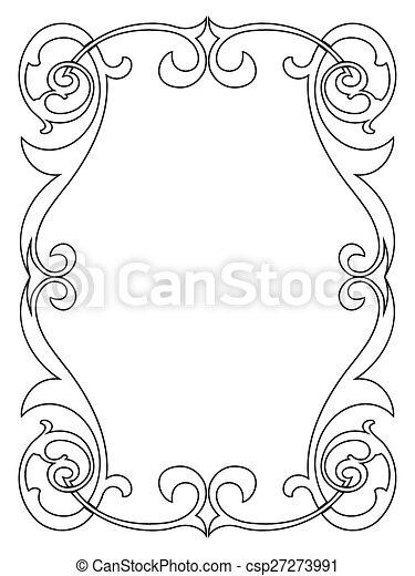Rizado, marco, negro, caligrafía, barroco, caligrafía.... vectores ...