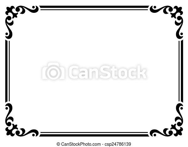 Rizado, marco, negro, caligrafía, barroco, caligrafía. Rizado, marco ...