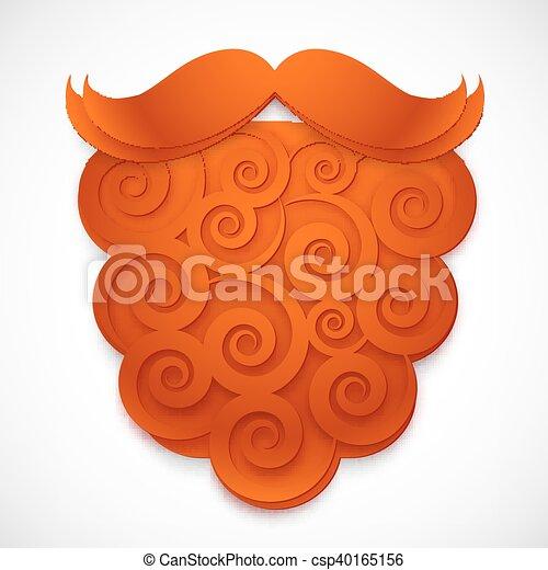 Vector rojo de papel rizado falsa barba con bigotes - csp40165156
